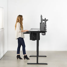 Load image into Gallery viewer, Electric Adjustable Standing Desk - VIVO -  Black Electric 60 X 24 Inch Stand Up Desk DESK-KIT-2E6B