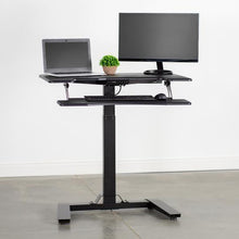 "Load image into Gallery viewer, VIVO - DESK-V111V  36"" Black Electric Height Adjustable Desk - MyErgoDesk.com"