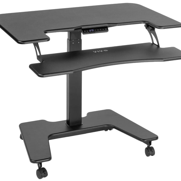 "Electric Adjustable Standing Desk - ViVO - DESK-V111VT Black 36"" Electric Mobile Compact Desk"