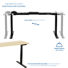 Load image into Gallery viewer, Electric Adjustable Standing Desk - VIVO - DESK-V120EB Black Electric Dual Motor Desk Frame