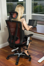 Load image into Gallery viewer, Ergonomic Chairs - Canary/ErgoMax - Meshed Ergonomic Height Adjustable Black Office Chair W/Armrests & Headrest