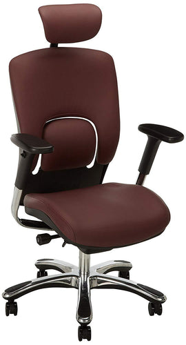 Ergonomic Chairs - GM Seating - Ergolux Genuine Leather Executive Hi Swivel Chair Chrome Base With Headrest