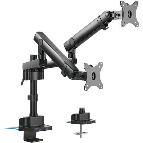 Monitor Arm - VIVO - Pneumatic Arm Dual Monitor Desk Mount With USB STAND-V102BDU