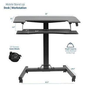 "Pneumatic Adjustable Desks - VIVO - DESK-V111GT  Black 36"" Pneumatic Mobile Compact Desk"