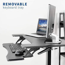 "Load image into Gallery viewer, Pneumatic Adjustable Desks - VIVO - DESK-V111GT  Black 36"" Pneumatic Mobile Compact Desk"