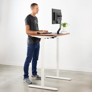 Standing Desk Frame - VIVO - DESK-V101EW  White Electric Single Motor Desk Frame