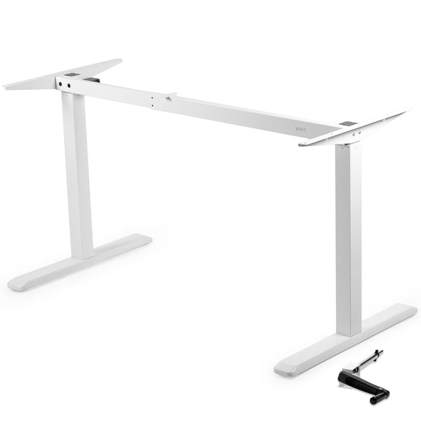 VIVO - DESK-V101MW  White Manual Desk Frame - myergodesk