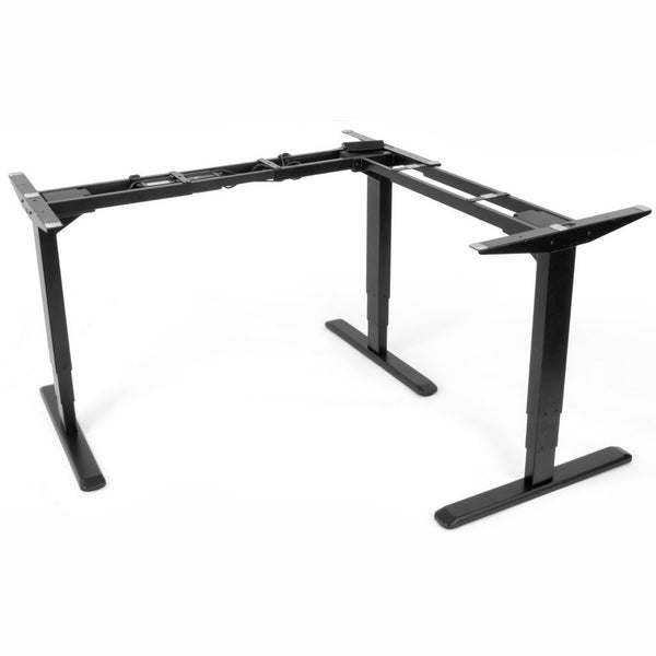VIVO - DESK-V133E Electric Motor Sit Standing Height Adjustable Corner Three Leg Desk Stand L Frame - myergodesk