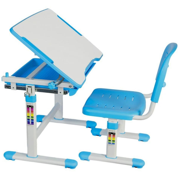VIVO - DESK-V201B Kids Height Adjustable Desk & Chair, Blue - myergodesk
