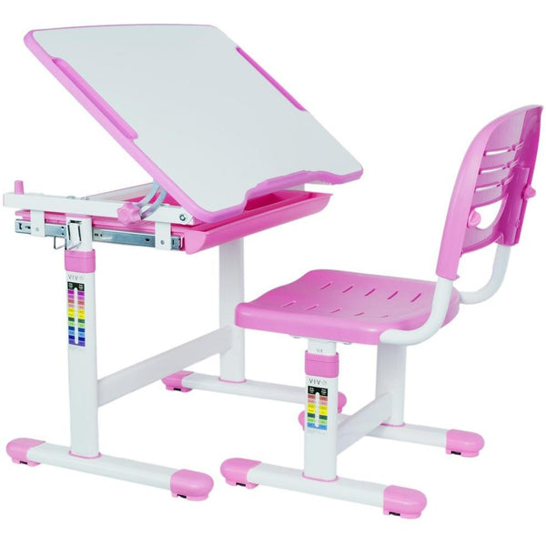 VIVO - DESK-V201P Kids Height Adjustable Desk & Chair, Pink - myergodesk