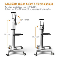 Load image into Gallery viewer, LOCTEK - P2 UNIVERSAL TV CART W/ DVD SHELF & WHEELS FOR 32''-70'' - MyErgoDesk.com