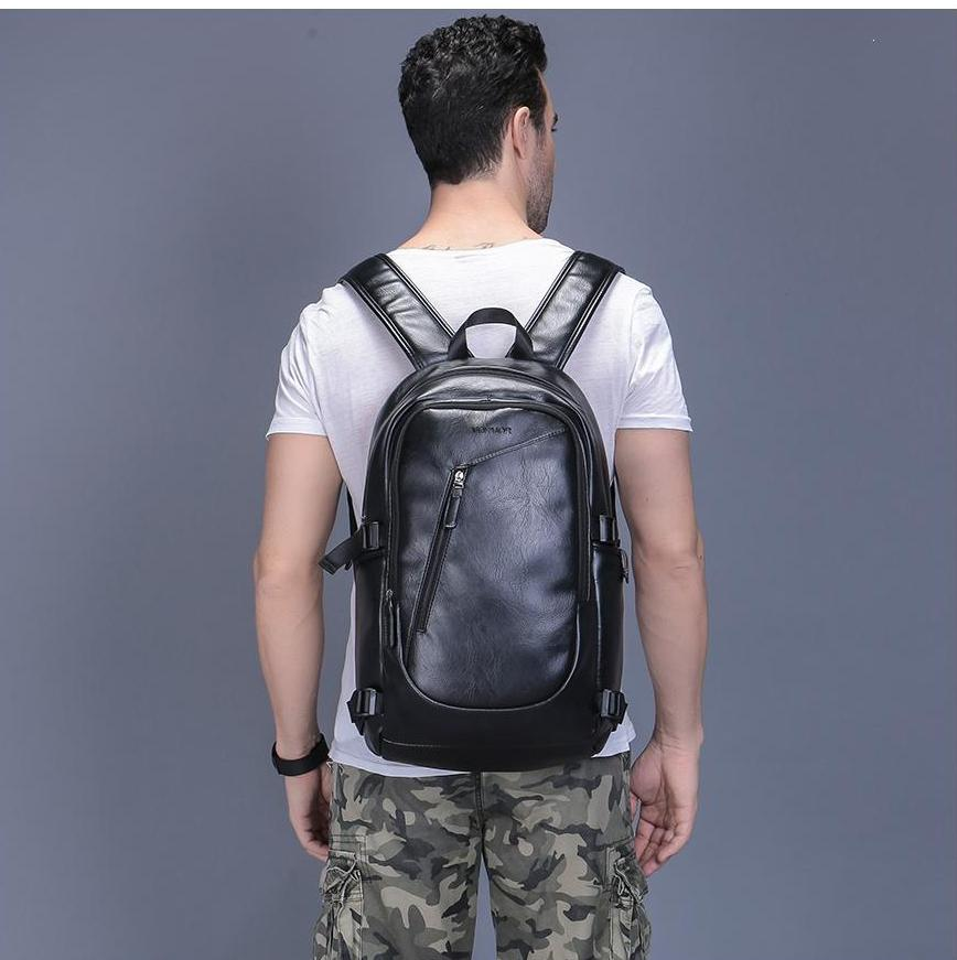 Casual Leather Waterproof Backpack