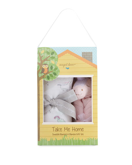 AD Unicorn Take Me Home Blankie/Swaddle Set