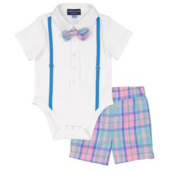 AE White/Easter Plaid Shirtzie Set