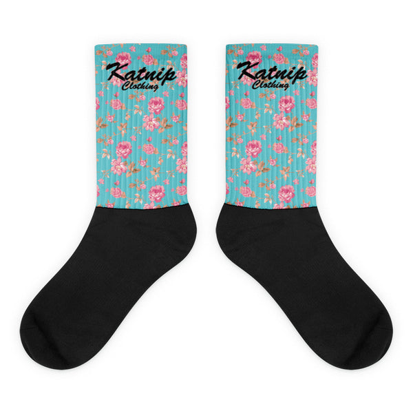 Floral Black foot socks