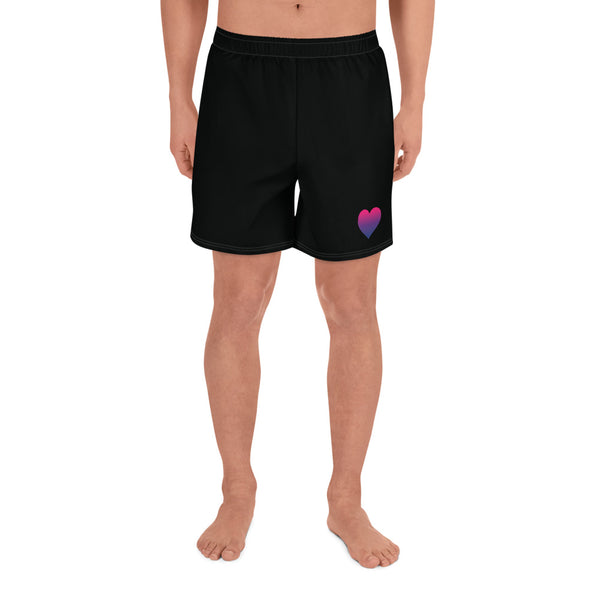 Bisexual Heart All-Over Print Men's Athletic Long Shorts