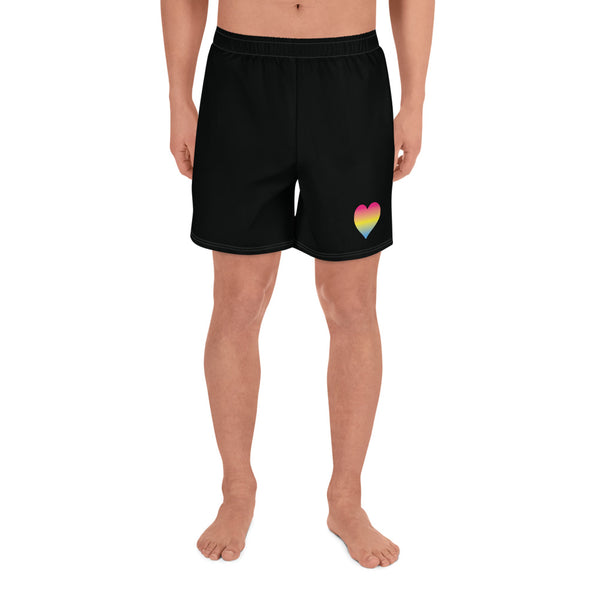 Pansexual Heart All-Over Print Men's Athletic Long Shorts