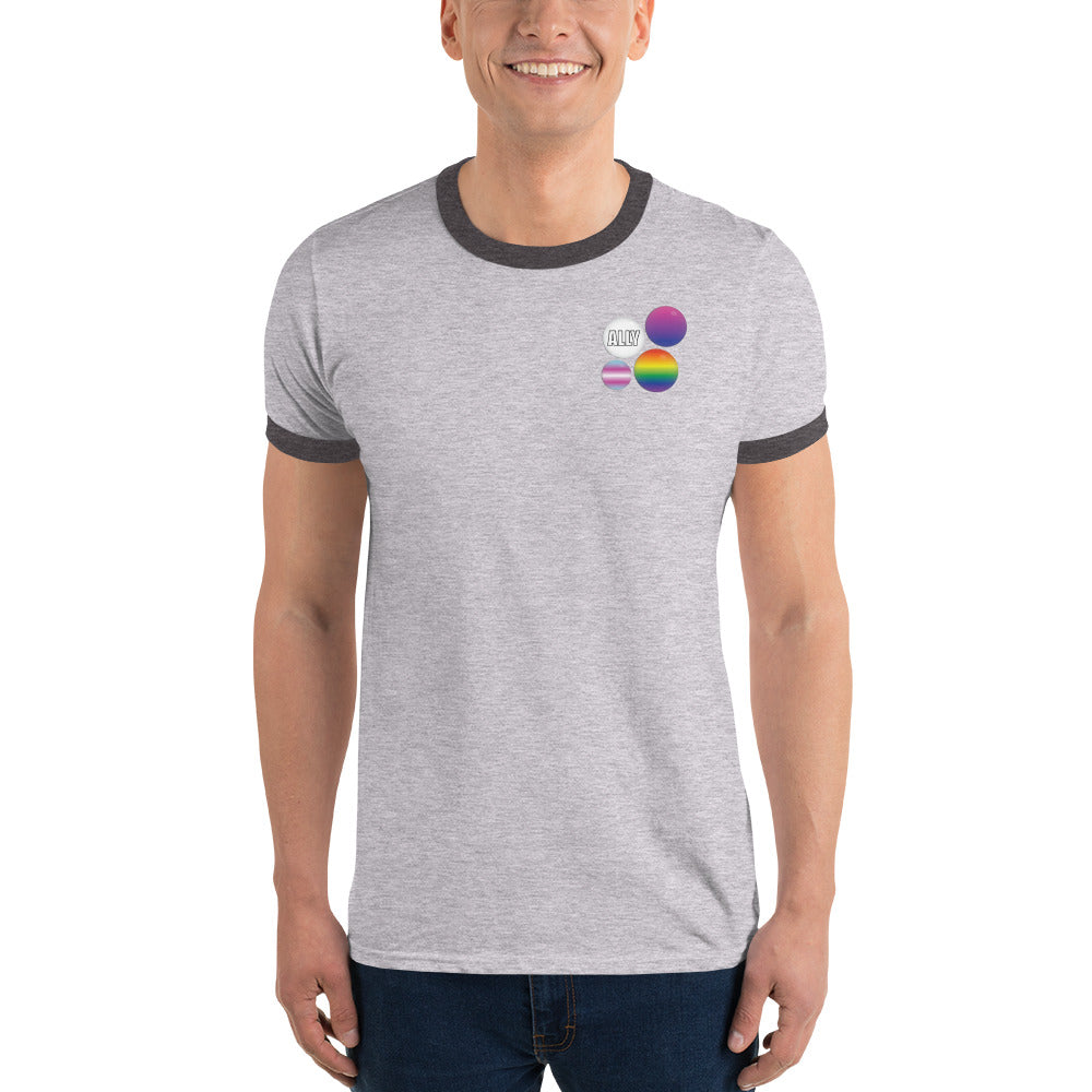 Ally Pride Button Ringer T-Shirt