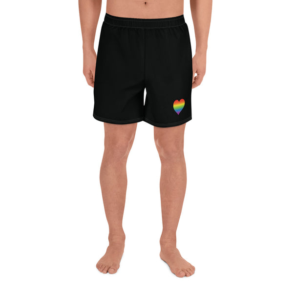 Gay Heart All-Over Print Men's Athletic Long Shorts