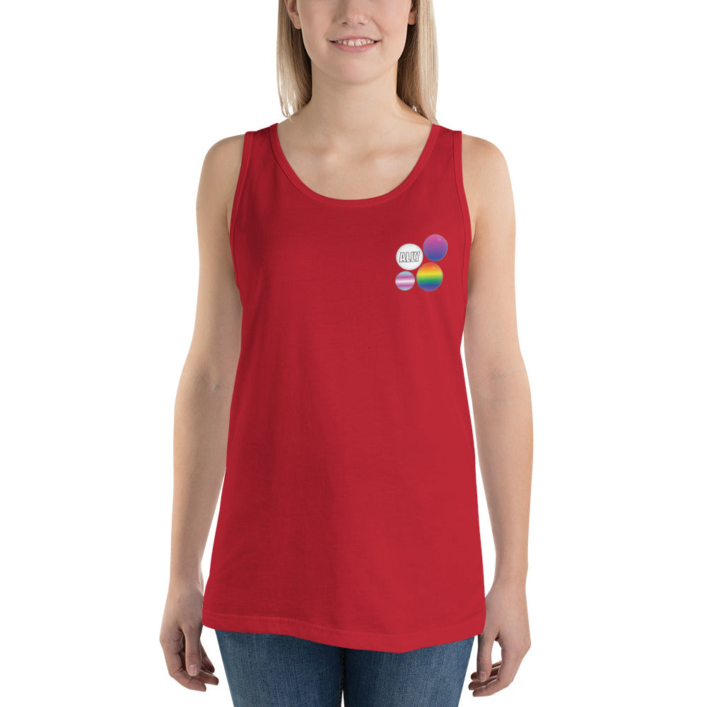 Ally Pride Button Unisex  Tank Top