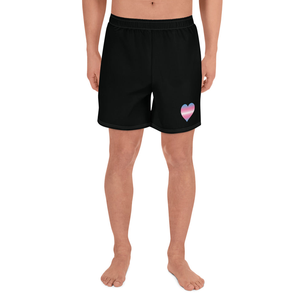 Transgender Heart All-Over Print Men's Athletic Long Shorts