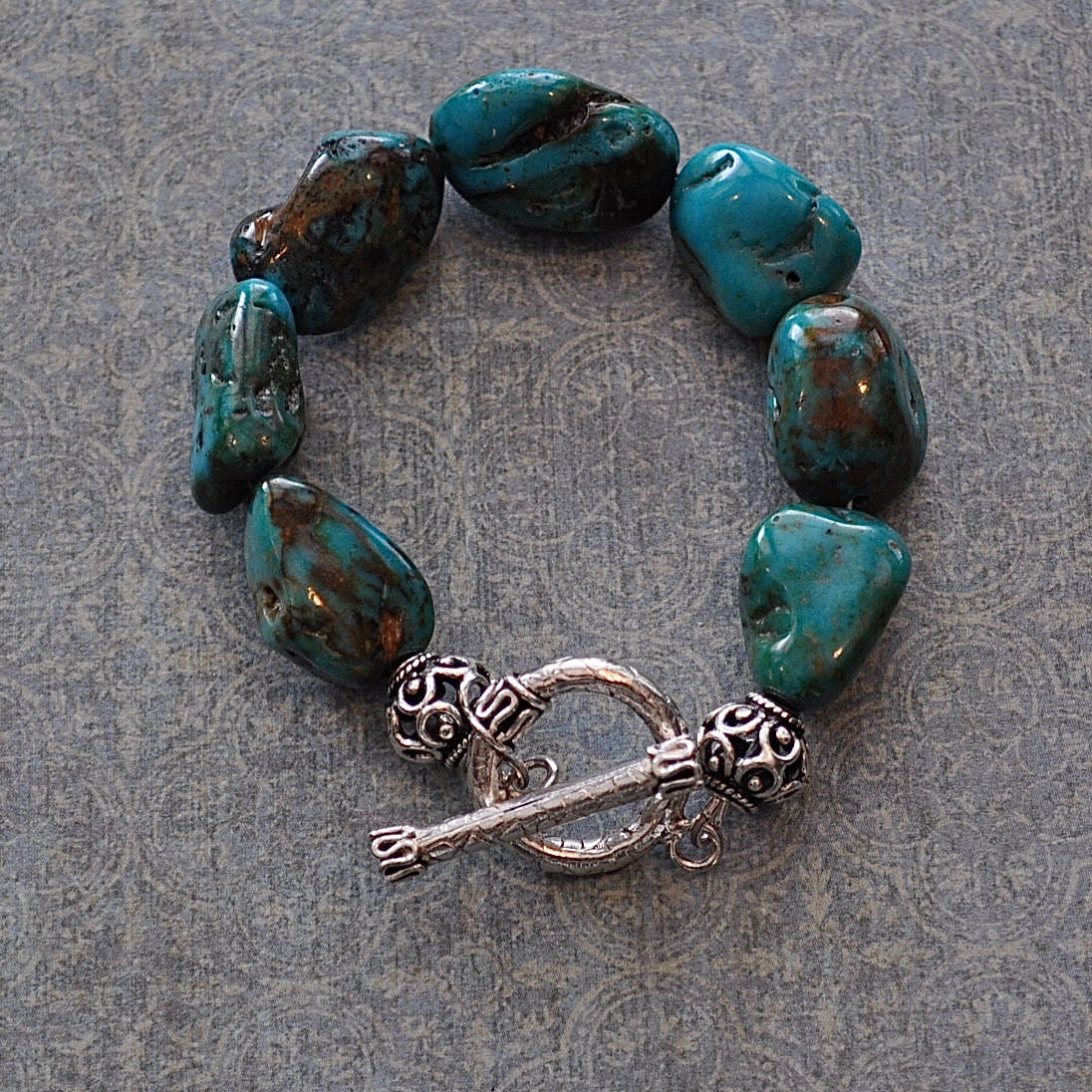 Chunky Turquoise and Sterling Silver Bracelet