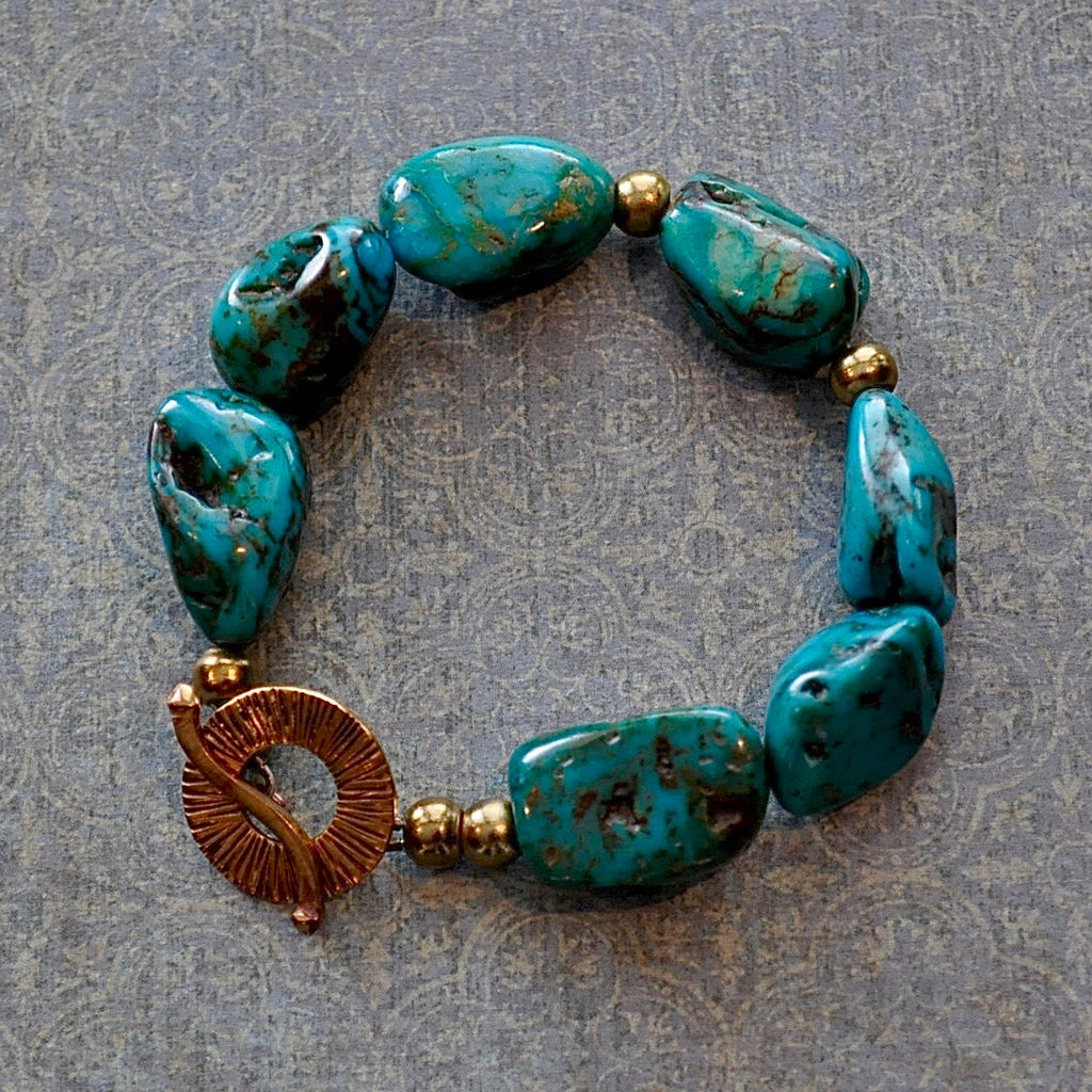 Chunky Turquoise and Brass Bracelet