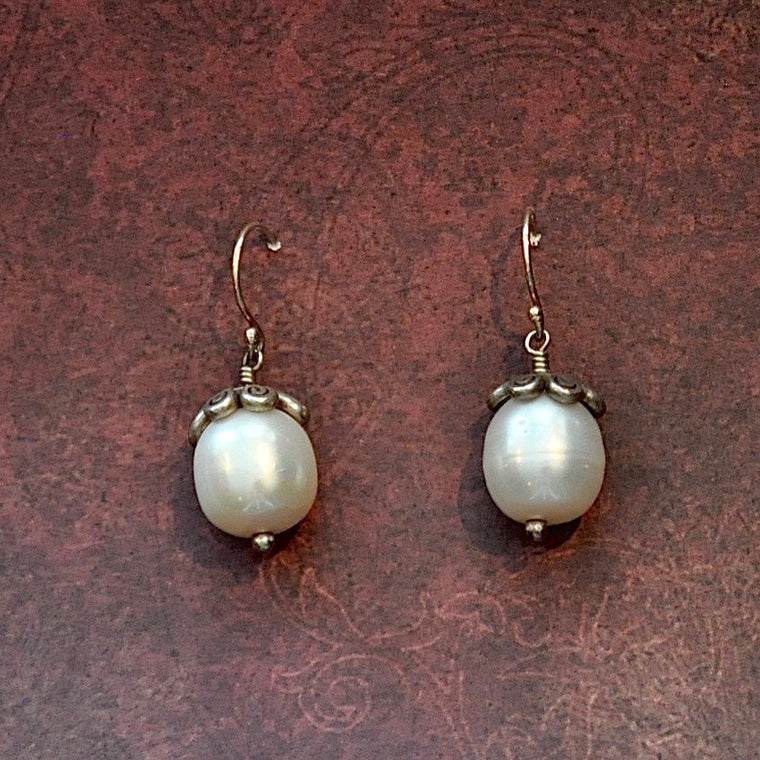 Pearl and Siver Earrings