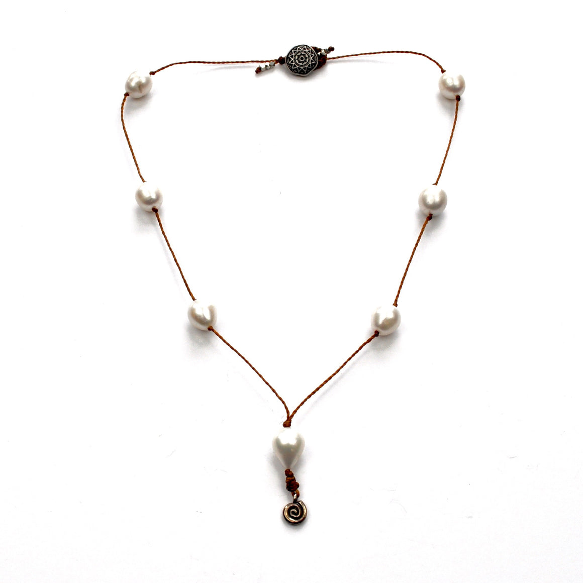Pearl Station Necklace with Silver Dangle