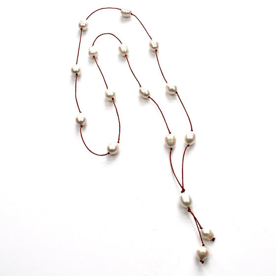 Long Station Pearl Necklace