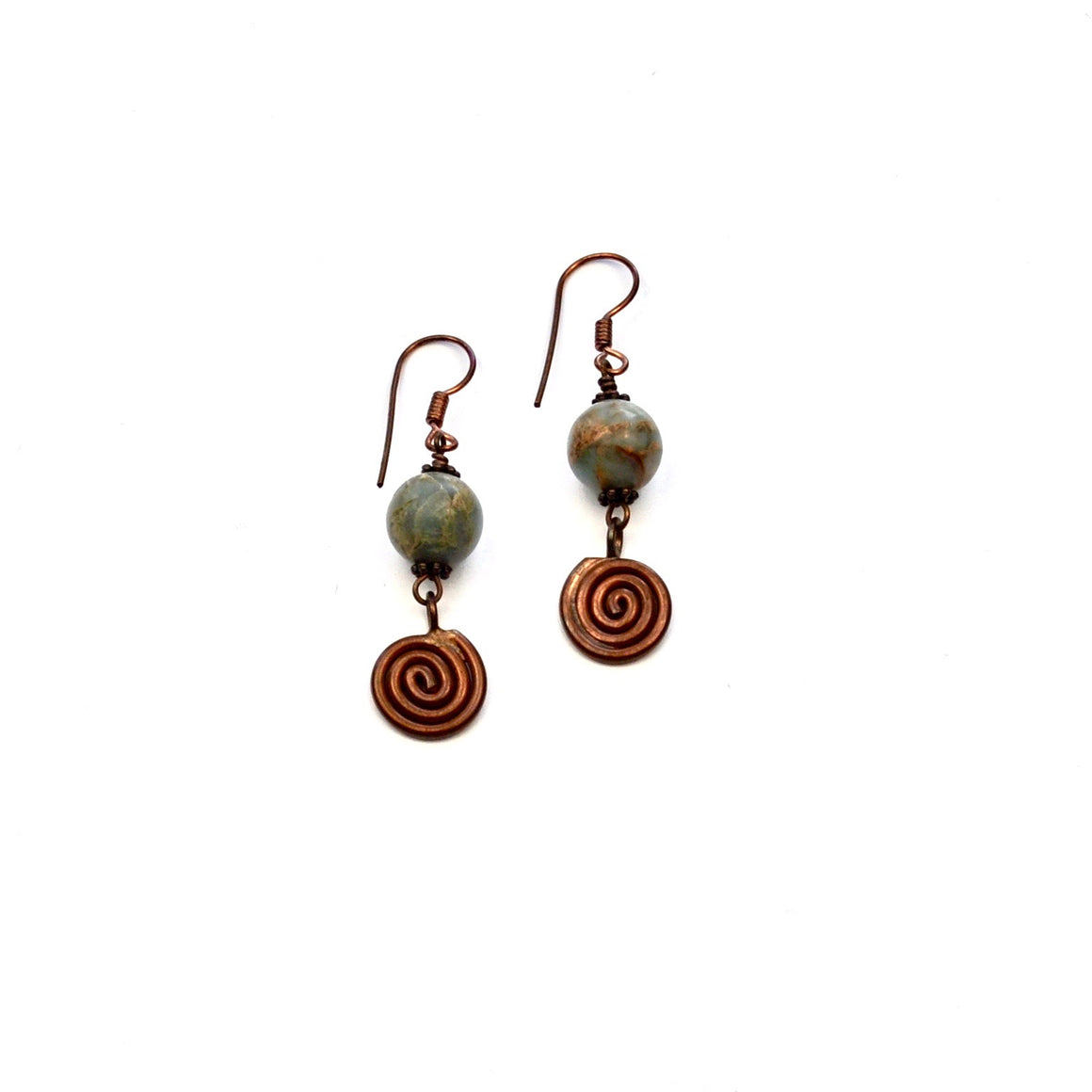 Copper Aqua Terra Jasper Earrings