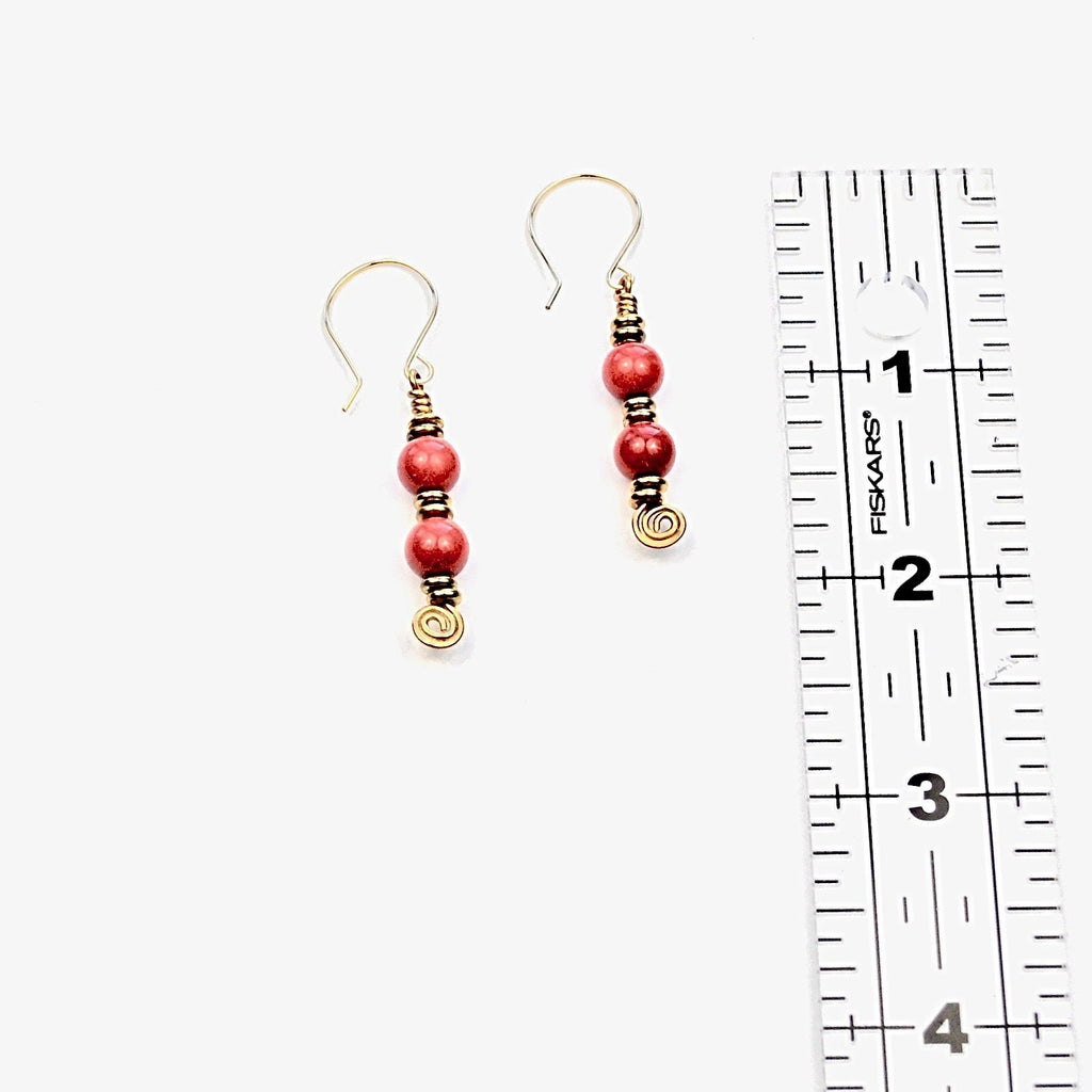 Coral & Brass Earrings