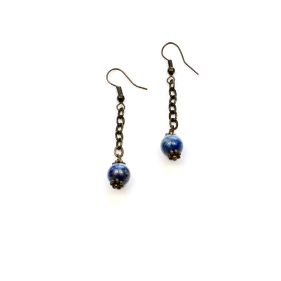 Lapis Lazuli and Brass Earrings