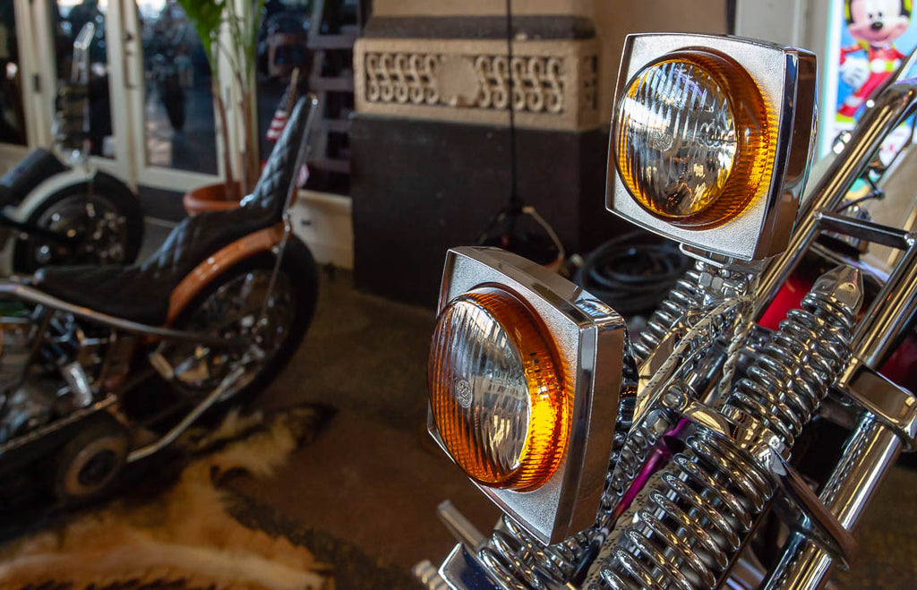 Dual chopper headlights and springer fork