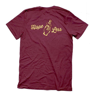 Deathbed Edition Hope Less maroon t-shirt back