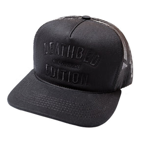 Deathbed Edition black embroidered trucker hat