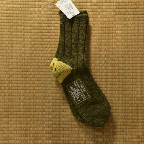 Kapital 56 Yarns MA-1 Smiley Green Heel Socks - Silverlake, Socks - Vinatge, Kapital - Designer