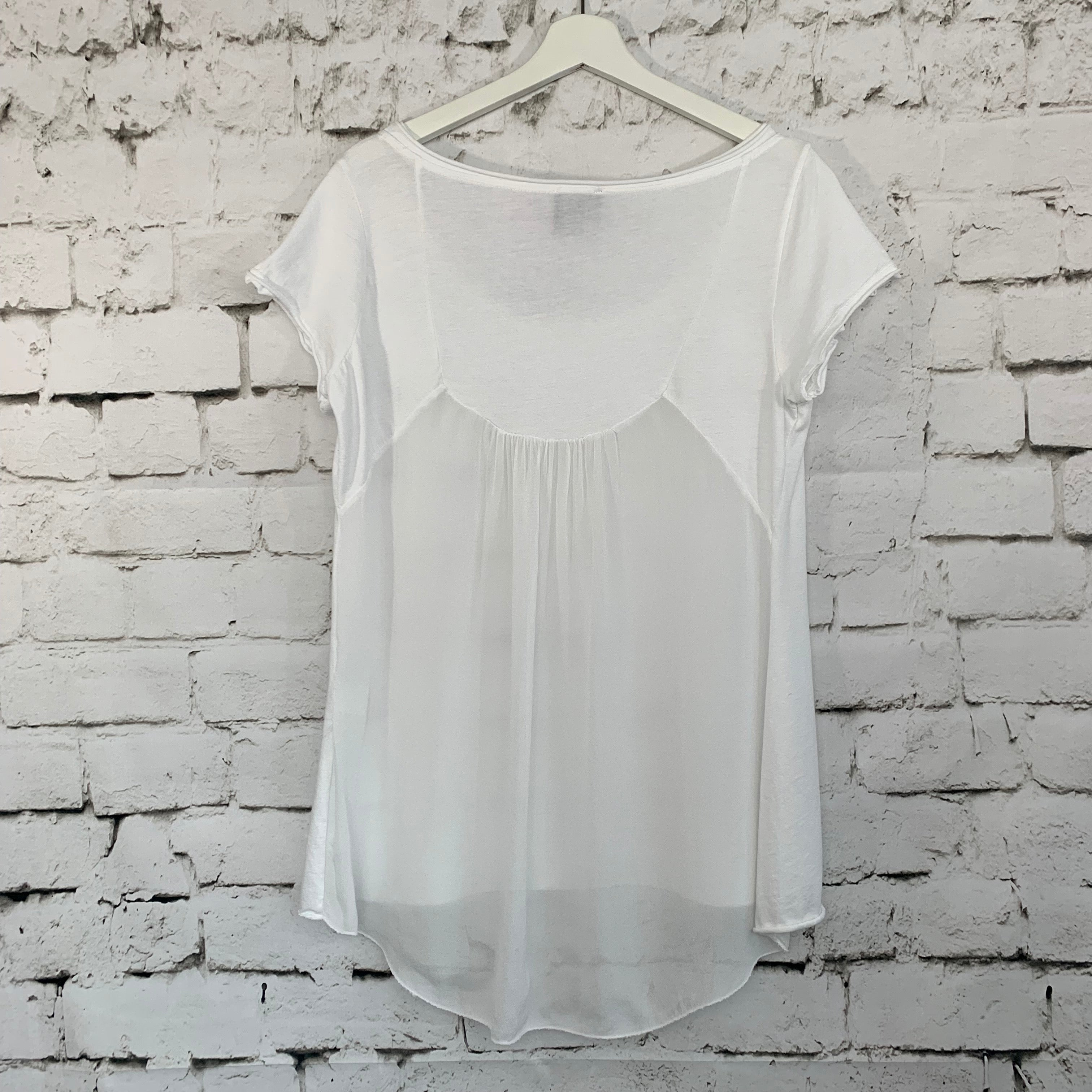 Sheer Silk Back Graphic Top