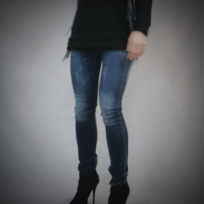 Stretch Skinny Denim With Ankle Zipper