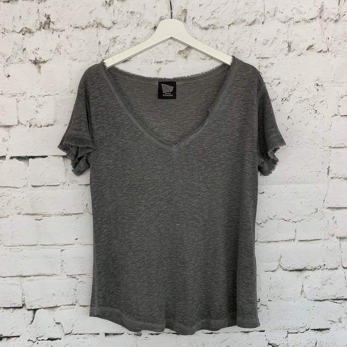Frayed V Neck Slub Tee