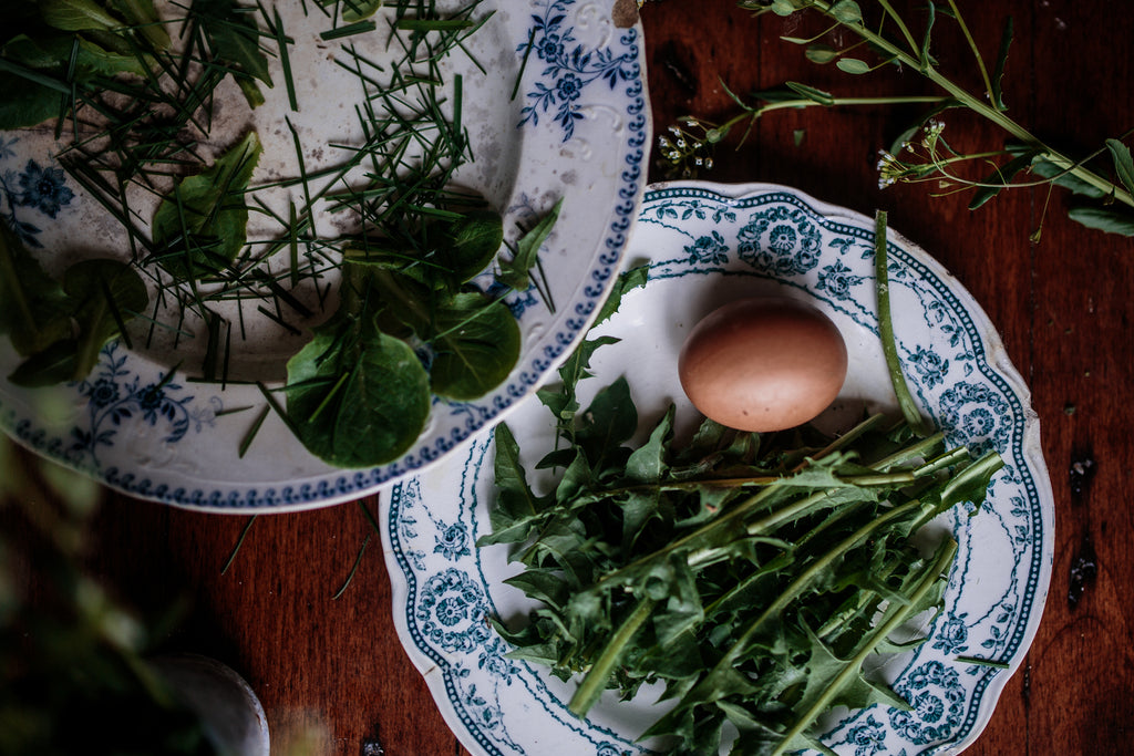 hard boiled organic eggs, dandelion leaves