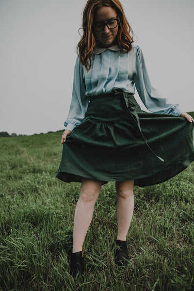 Pioneer Wrap skirt in 'FOREST'