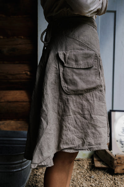 Pioneer Wrap Skirt in 'NATURAL'