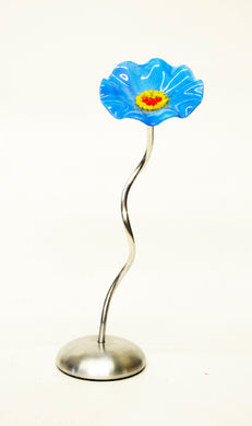 Scott Johnson Medium Glass Flower Stem - Baby Blue
