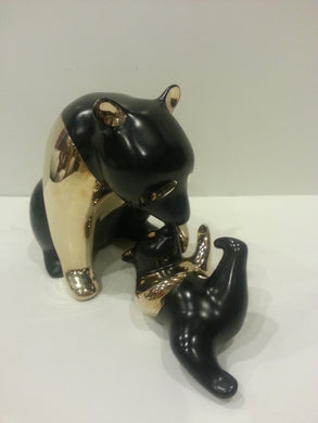 Loet Vanderveen Panda and Baby (Black) Sculpture