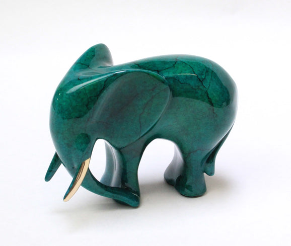 Loet Vanderveen Elephant, Standing (Jeweled Jade Patina) Sculpture