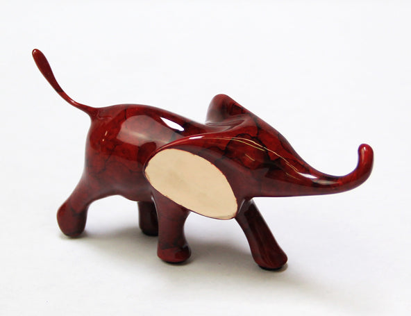 Loet Vanderveen Small Elephant Running (Ruby) Sculpture