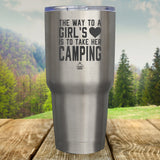 The Way To A Girls Heart, Camping Laser Etched Tumbler