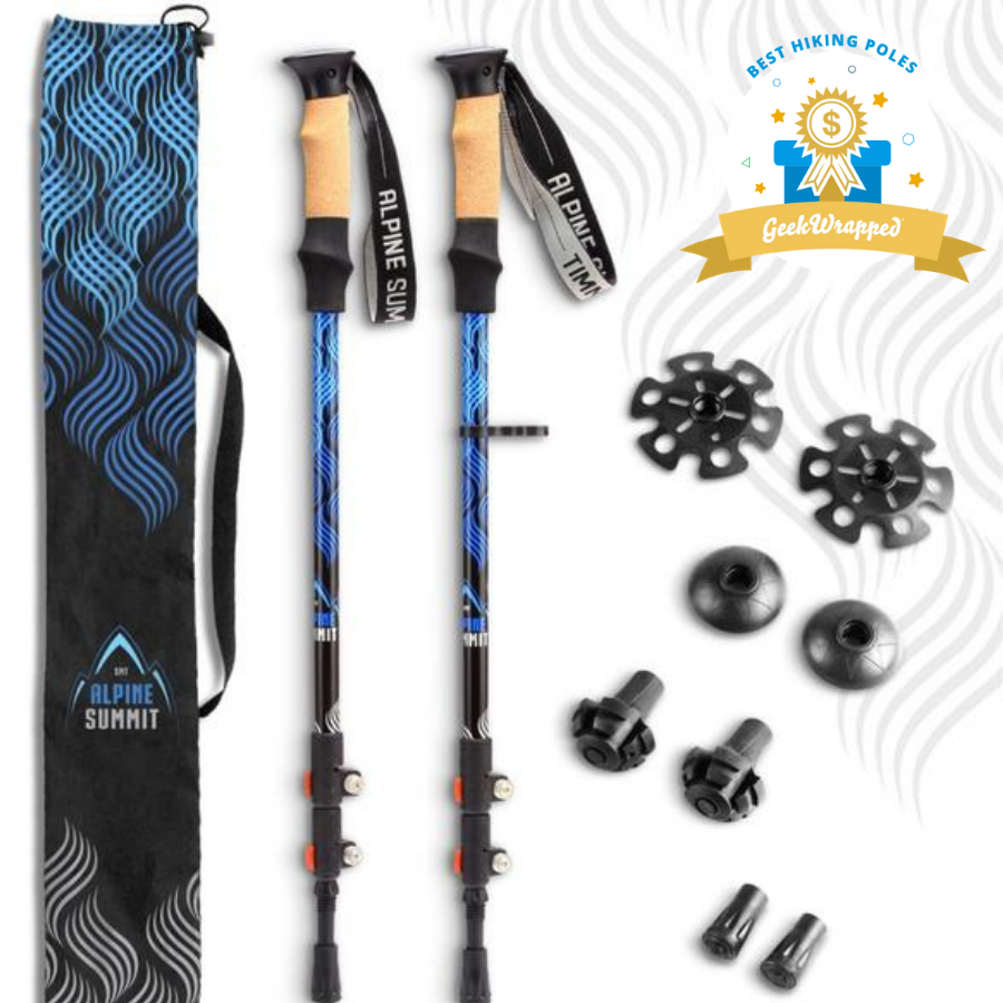 Alpine Summit Blue Flow Trekking Poles (Pair) with Custom Engraving