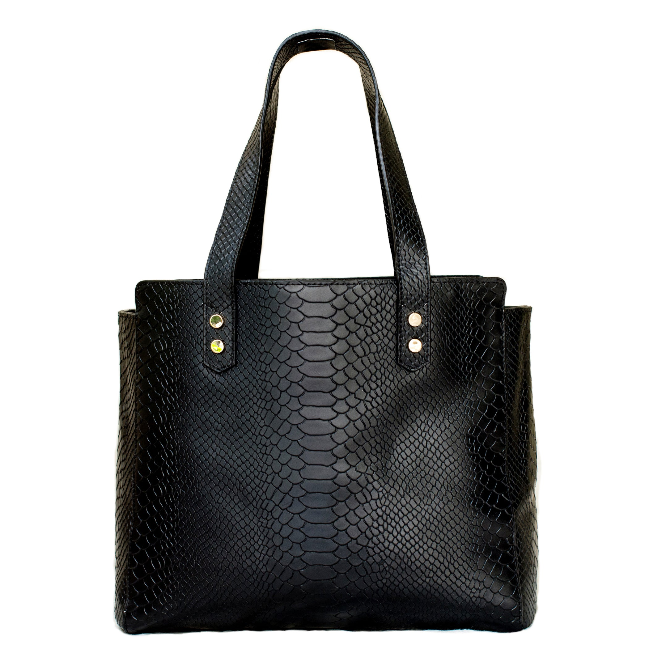Python Embossed Leather Tote in Black - Elizabeth Ackerman New York